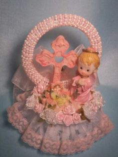 Baby Girl Angel with Cross Baby Shower Christening Cake Top Centerpiece Decoration 5 inches tall made on a 4 inch base