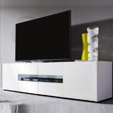 Cannes LCD TV Stand In White High Gloss Front With 4 Doors And LED Lighting look Extremely beautiful in your modern style living room décor Finish: Front: White High Gloss Lacquered &n. Tv Stand Furniture, Living Room Furniture Sale, Contemporary Living Room Furniture, Contemporary Coffee Table, Furniture Sets, Living Room Decor, Coffee Table High Gloss, Lcd Tv Stand, White Tv Stands