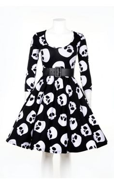 I NEED this....  Deadly Dames- Hotrod Honey Swing Dress in Skull Print - Plus Size | Pinup Girl Clothing