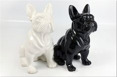 Statue of french bulldog, WHITE ceramic, for decoration or collection $35