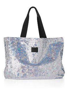 872469b5881 Large Bling Tote Bag - victoriasecret.com Silver Tote Bags