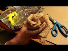 How to make BURLAP RIBBON ROSES - YouTube