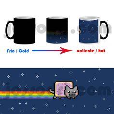 Taza mágica magica magic mug nyan cat gato gatito pixel friki nerd freak 325ml