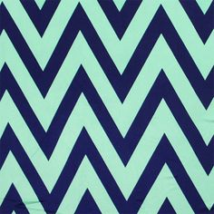 """Mint Green Navy Blue Chevron Nylon Spandex Knit Fabric - Super soft Venecia nylon spandex knit in a pretty navy blue and mint green chevron zig zag print.  Fabric has a slight for way stretch, a silky drape, and is light weight.  Chevron measures about 5"""".  Great for active wear, swimsuits, wrap dresses, tops, and more!  ::  $5.50"""