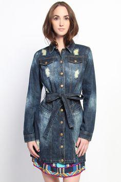 The Mogan - Distressed Jean Long Line Denim Jacket - $49.00