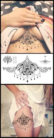 Boho Lotus Sternum Tattoo Ideas - Tribal Chandelier Lace Mandala Thigh Tatouage - Tatuaje de la flor - www.MyBodiArt.com