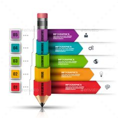 Business Education Pencil Infographic by alexdndz Business education infographic vector design template. Can be used for education and school, banner, poster, presentation, web des Infographic Template Powerpoint, Powerpoint Design Templates, Interactive Infographic, Business Education, Business Icon, Case Study Design, Pencil Design, Presentation Design, Web Design