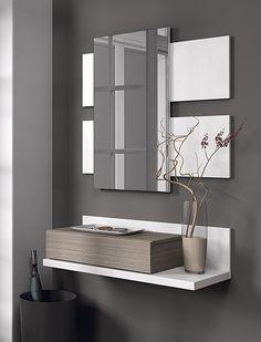 Recibidor con cajón y espejo blanco brillo y fresno