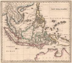 EAST INDIA ISLANDS. Dutch East Indies Philippines Indochina. JOHNSON, 1850 map Asia Map, Dutch East Indies, Antique Maps, Worlds Largest, Philippines, Islands, Vintage World Maps, India, Antiques