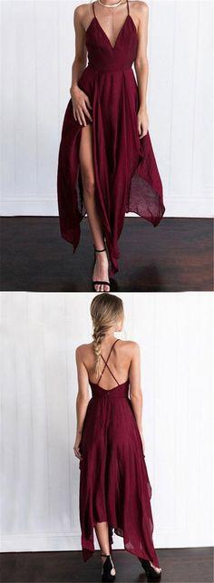 A Line V Neck Backless Long Maroon/Burgundy Prom Dresses, Backless Formal Dresses, Backless Maroon/Burgundy Bridesmaid Dresses #vneckdress #prom #promdress #prom2018 #burgundydress #maroondress #backlesspromdress #dresses #maroondress #vneckpromdress