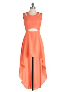 pin hole long back short front coral color dress