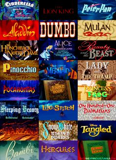 Cinderella, The Lion King, Peter Pan, Aladdin, Dumbo, Mulan, The Hunchback of Notre Dame, Alice in Wonderland, Beauty and the Beast,  Pinocchio,  The Little Mermaid, Lady and the Tramp, Pocahontas, The Jungle Book, The Princess and the Frog, Sleeping Beauty,  Lilo and Stitch, 101 Dalmatians, Tarzan, Snow White and the Seven Dwarfs, Tangled, Bambi, Hercules, The Jungle Book