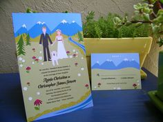 for anyone getting married in the mountains. Available on Loo Bird Press on etsy.- I love the silliness of the cartoon and the dog.