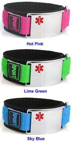Velcro brand/Nylon Diabetic Alert Bracelets