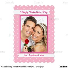Pink Floating Hearts Valentine's Day Photo Card