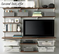 The Container Store elfa décor freestanding Entertainment Wall