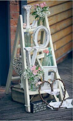 LOVE sign, rustic wedding ideas, vintage ladder
