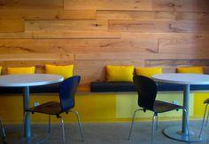 wood, yellow, concrete mix