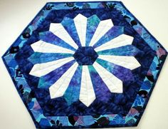 Hexagon and Dresden quilted table topper, turquoise, blue and white, patchwork quilt, home decor, Bali batik, table runner, table quilt