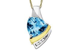 Swiss Blue Topaz Pendant Necklacein 14K Gold and Sterling Silver with Diamonds #Jewelry.com