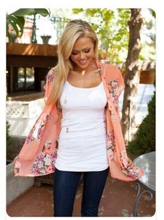 The orange kimono shawl is AMAZING. I'd pair it with a white t-shirt that isn't so form fitting but like a flowy tank