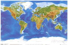 Satellite física Mapa del Mundo Póster
