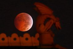 The 'Blood Moon' appears behind a gargoyle atop the old red Dallas County Courthouse during a lunar eclipse in Dallas, early Wednesday morning, October 8, 2014. (Tom Fox/The Dallas Morning News)