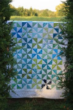 """Lap Quilt Kit """"Pinwheels"""" - Blue, Green, and White by PebbleCreekArts on Etsy"""