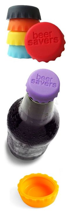 Beer saver bottle caps // Handy for all glass bottles including soda and wine coolers... because who only drinks half a beer? :) #product_design
