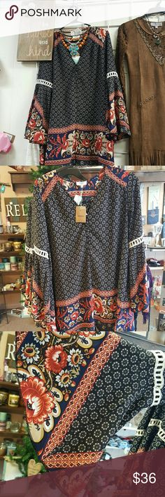 Free people style boho gypsy dress Gorgous dress, tunic with leggings and boots. Bell sleeves, quality fabric. hi lo hem line have in all sizes currently but ask if interested umgee  Dresses