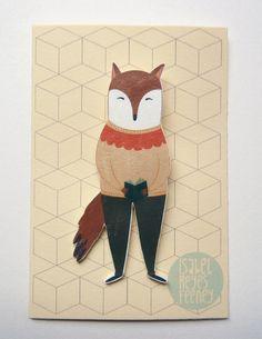 Forest Animal Brooch Shrink Plastic Brooch Fox di littleatae, €8,00