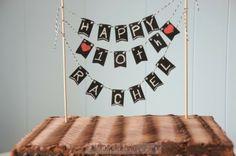 Cute cake top, chalkboard banner :: OrganizingMadeFun.com  Supplies at Michaels?  Mini chalk board bunting, chalk markers, etc...