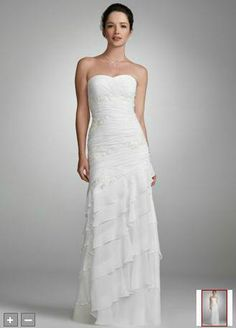 David's Bridal Chiffon Gown with Beaded Lace Applique Size 8 White Wedding Dress | eBay - $160