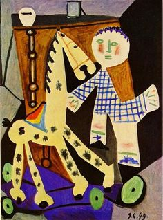 """Claude, Two years old, and his Hobby Horse"" Pablo Picasso. Claude was Pablo's son with painter & writer Françoise Gilot. Also older brother to Paloma Picasso. Kunst Picasso, Art Picasso, Picasso Paintings, Picasso Drawing, Spanish Painters, Spanish Artists, Art Sur Toile, Cubist Movement, Georges Braque"