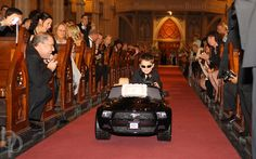 Wedding Ring Bearer in battery powered Mustang driving down aisle at Cathedral of the Holy Cross, Boston Wedding Photography