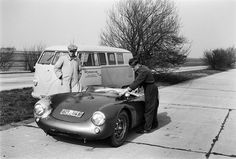 testing of the porsche-550-spyder at the autobahn before the 1954 Mille Miglia