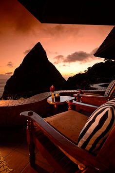 Evening is a rose-tinted treat at Dasheene at Ladera in St Lucia in the Caribbean
