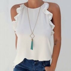 2019 Fashion New Women Sleeveless Loose Shirts Holiday Ladies Summer Casual Solid Blouse Tops Shirt Women Clothes, White / XXL Mode Top, Mode Inspiration, Casual Chic, Casual Looks, Ideias Fashion, Casual Outfits, Casual Wear, Fashion Outfits, Couture