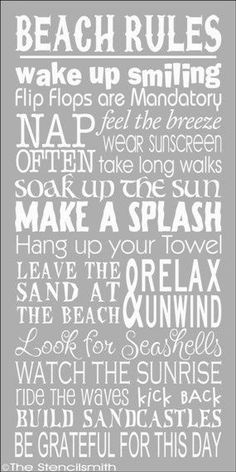 Beach Rules- I think these need to be LIFE rules The Words, I Love The Beach, My Love, Beach Rules, Beach Signs, Pool Rules, Am Meer, Beach Bum, Beach Play