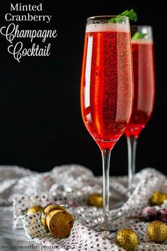 Ring in the new year with this minted cranberry Champagne cocktail! With a homemade mint-cranberry simple syrup and touch of Chambord, this festive Champagne cocktail is the perfect sipper for your New Year's Eve party. Holiday Drinks, Summer Drinks, Holiday Recipes, Winter Drinks, Christmas Drinks, Party Drinks, Cold Drinks, Fun Drinks, Christmas Recipes
