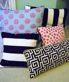 Astounding Tips: Decorative Pillows On Bed Diy sewing decorative pillows mom.Decorative Pillows Ideas Texture decorative pillows for teens.Decorative Pillows For Teens Grey. Diy Throws, Diy Throw Pillows, Sewing Pillows, Decorative Pillows, Burlap Pillows, White Pillows, Accent Pillows, Diy Home Decor Projects, Sewing Projects