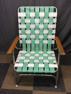 Vintage Aluminum Highback/wide Seat Web/webbed Folding/fold Up Camp Lawn  Chair