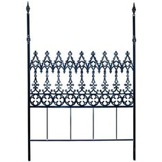 Gabrielle Iron Queen Headboard  dramatic scrolled design inspired by an ornate gate gives the Gabrielle headboard its striking style. Its iron construction adds depth and richness to a queen-sized bed. The headboard is available in several beautiful finishes, including painted gloss, matte, glazed and distressed.