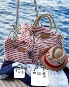Of course! Everything needed for a day at the beach easily finds room in these striped bags that come in two different sizes.