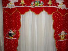 cenefa pintada a mano sobre gamuza con Luces incorpiradas Christmas Humor, Christmas Time, Xmas, Curtain Trim, Valance Curtains, Christmas Valances, Advent Calander, Christmas Stockings, Christmas Decorations