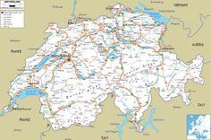 Road Map of Switzerland, Ezilon.com, 2009. Navigation, Gen. Ref., Instrument.