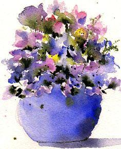 Lovely floral watercolor by Anne Duke Watercolor Artists, Watercolor Landscape, Watercolour Painting, Watercolor Flowers, Watercolours, Watercolour Drawings, Pick Art, Vases, Illustrations