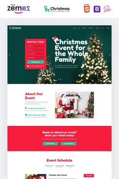 The Christmas event landing page is a fully responsive, reliable, fast, and stylish HTML Landing Page Template for annual and semi-annual events. Event Landing Page, Landing Page Html, Landing Page Design, Html Templates, Wordpress Template, Page Template, Landing Page Inspiration, Website Design Inspiration, Christmas Events