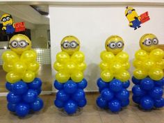 Minions balloon decor (stack balloons pushed into styrafone Minions Birthday Theme, Minion Theme, 3rd Birthday Parties, 2nd Birthday, Birthday Balloons, Birthday Ideas, Minion Party Decorations, Balloon Decorations, Balloon Centerpieces