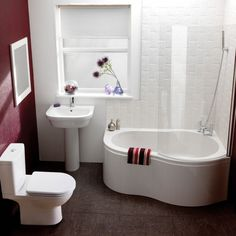 Bathroom Furniture. Bathroom Remodeling Ideas with Cool Layouts and Furniture Set. Gorgeous White Red Maroon Small Bathroom Remodel Feature Corner Curved Edge Tub Shower Combo And White Acrylic Pedestal Sink And Freestanding White Acrylic Toilet Along With Bathroom Sash Window With Pull Down Blind. Remodel Small Bathroom Ideas